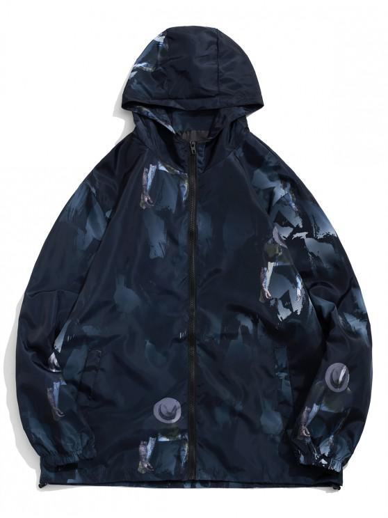 trendy Character Painting Camouflage Print Hooded Jacket - BLACK 4XL