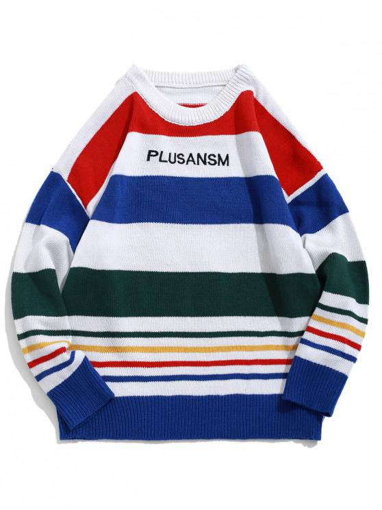 trendy Colorful Stripes Letter Embroidery Crew Neck Sweater - MULTI S