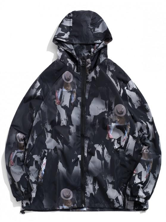 women's Character Painting Camouflage Print Hooded Jacket - GRAPHITE BLACK XL