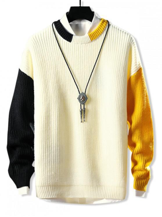 Farbe-blocking Rib Knit-Tropfen-Schulter-Pullover - Weiß XL