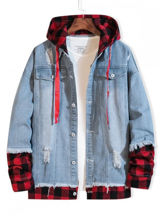 sale Distressed Plaid Splicing Ripped Hooded Jean Jacket - LIGHT BLUE 3XL