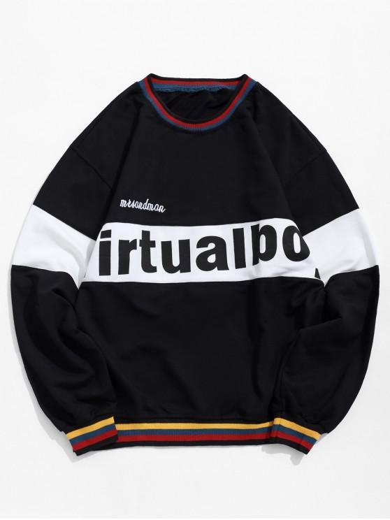 shops Letter Graphic Color Blocking Spliced Stripes Sweatshirt - BLACK XL