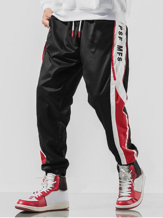 affordable Letter Embroidery Colorblock Spliced Drawstring Jogger Pants - BLACK L