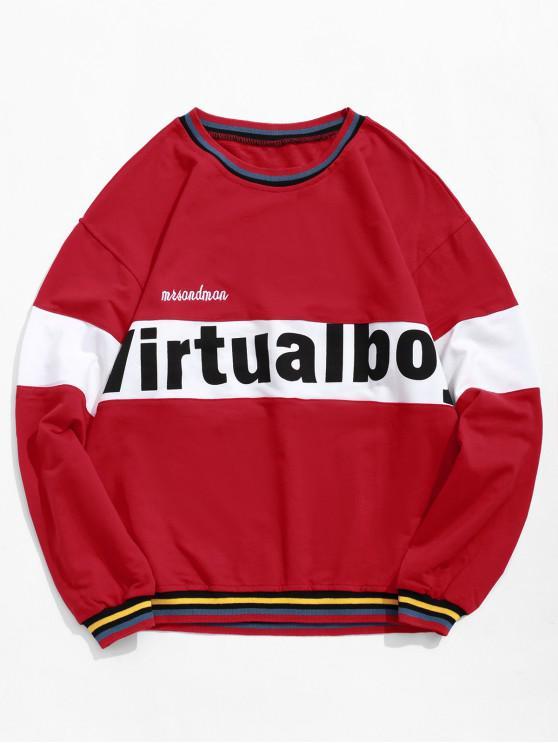 fancy Letter Graphic Color Blocking Spliced Stripes Sweatshirt - CHESTNUT RED S