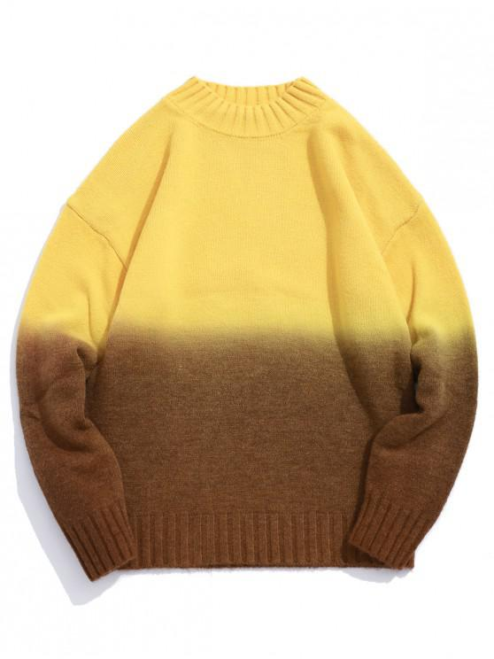 outfits Casual Color-blocking Pullover Sweater - YELLOW XS