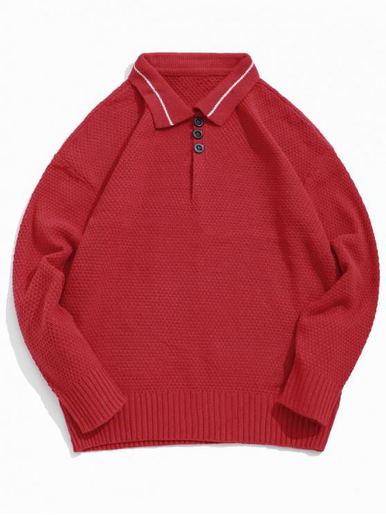 ladies Turn Down Collar Solid Half Button Pullover Sweater - RED XS