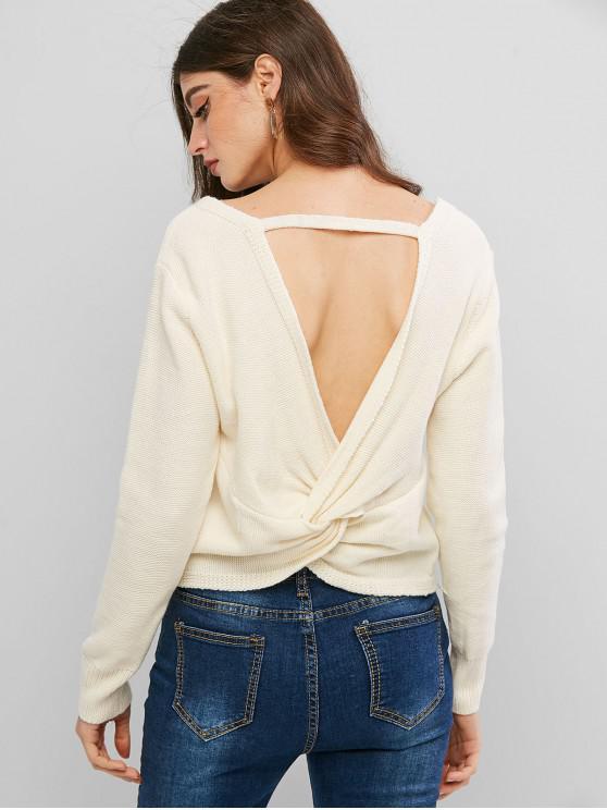 fancy ZAFUL Pullover Twist Back V Neck Sweater - WHITE S