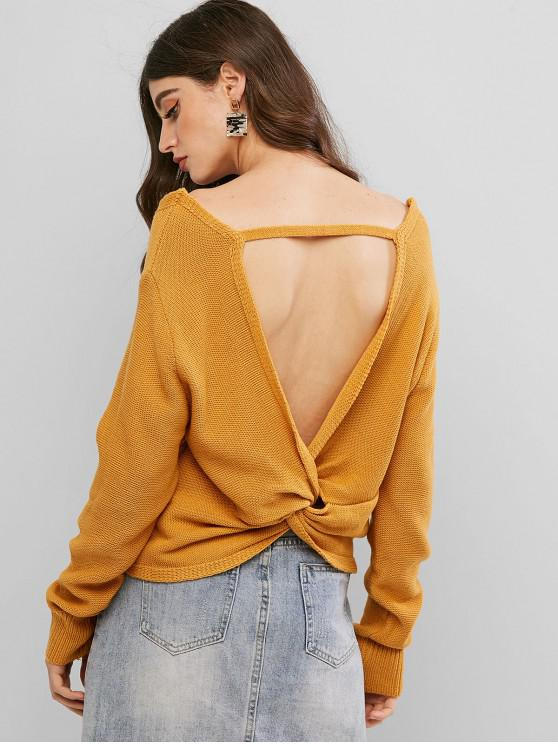 womens ZAFUL Pullover Twist Back V Neck Sweater - YELLOW S