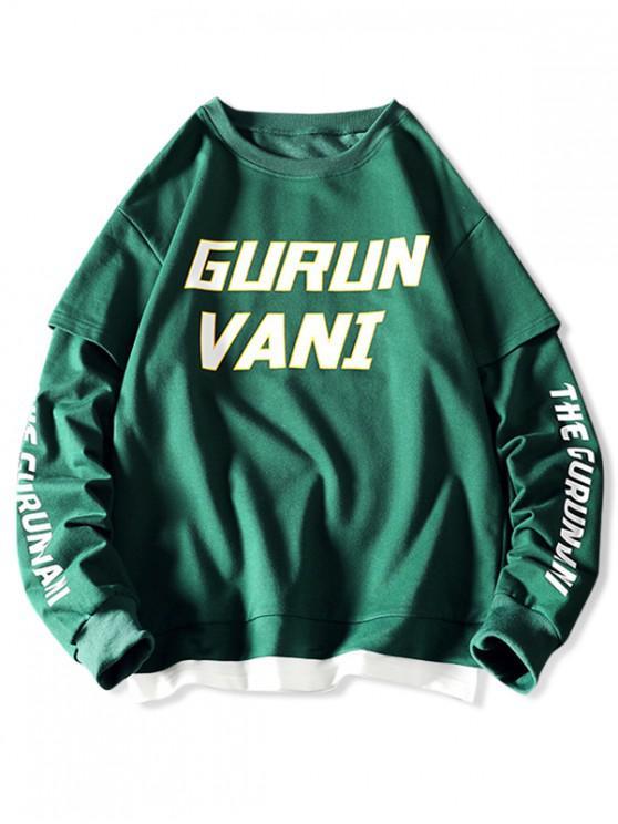 womens Men Graphic 2 in 1 Drop Shoulder Sweatshirt - MEDIUM SEA GREEN XL