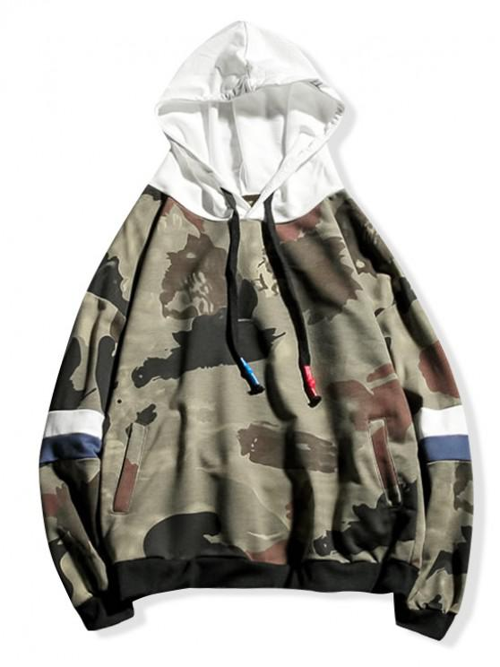 trendy Camouflage Colorblock Splicing Drawstring Hoodie - MULTI-A M