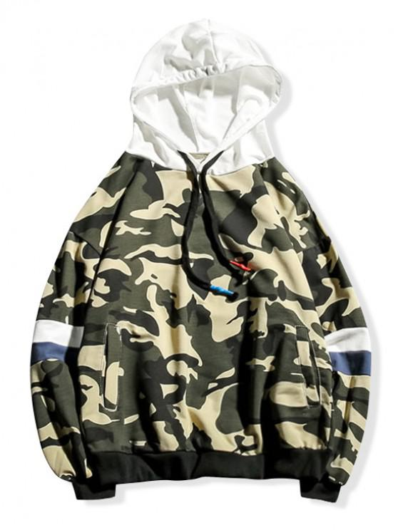 sale Camouflage Colorblock Splicing Drawstring Hoodie - FERN GREEN XS
