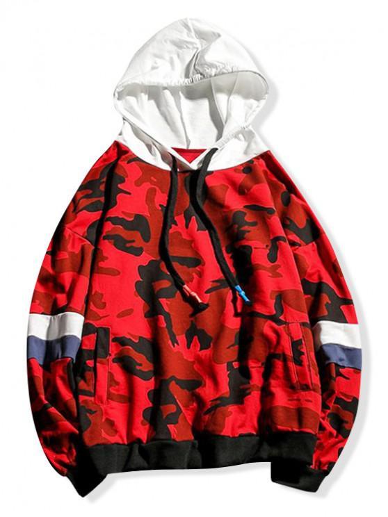 Камуфляжный принт Цветной блок Со шнуровкой Толстовка - Лава-красный XL