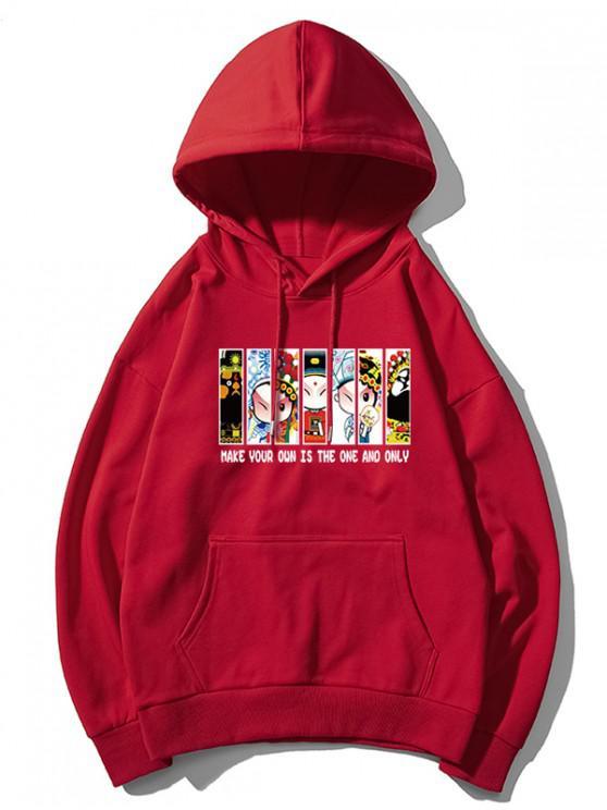 ladies Peking Opera Letter Graphic Print Drawstring Hoodie - RED L