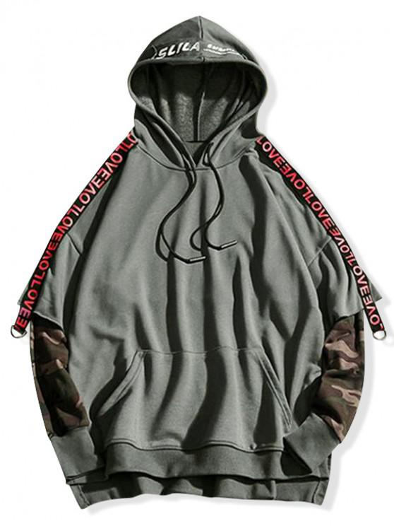 fancy Letter Ribbon Camouflage Splicing High Low Hoodie - SMOKEY GRAY 3XL
