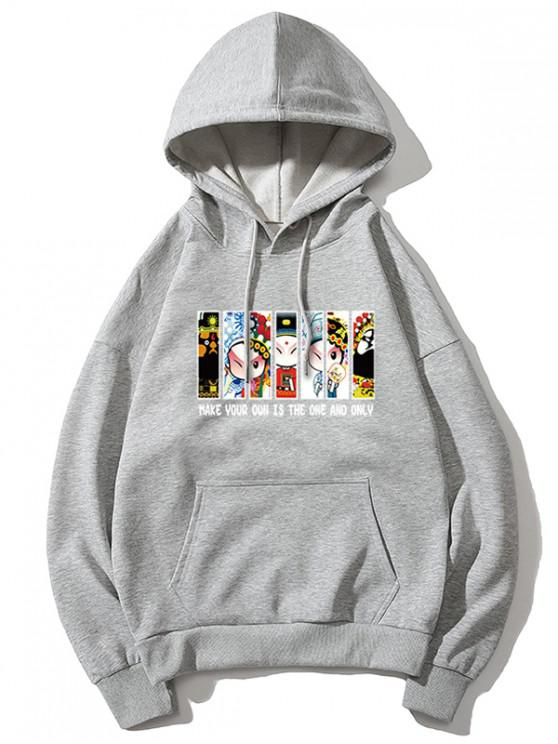 womens Peking Opera Letter Graphic Print Drawstring Hoodie - GRAY M