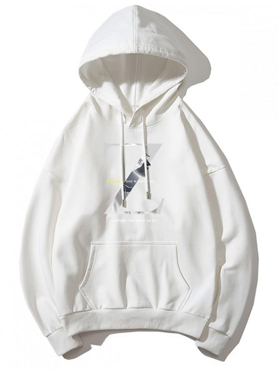 Zレターグラフィックプリントの巾着ドロップショルダーパーカー - 白 3XL