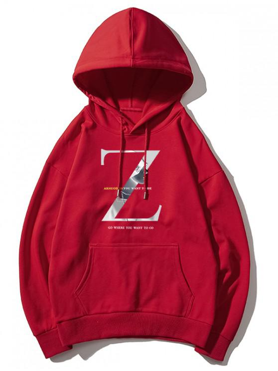 fashion Z Letter Graphic Print Drawstring Drop Shoulder Hoodie - RED M