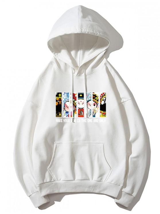 women Peking Opera Letter Graphic Print Drawstring Hoodie - WHITE 4XL