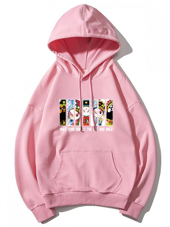 women's Peking Opera Letter Graphic Print Drawstring Hoodie - PINK 3XL