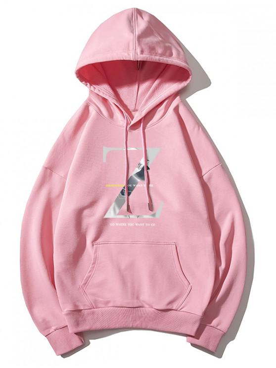 Со шнуровкой Плечо паденияТолстовкаСкапюшономСграфическимпринтомZ - Розовый 2XL