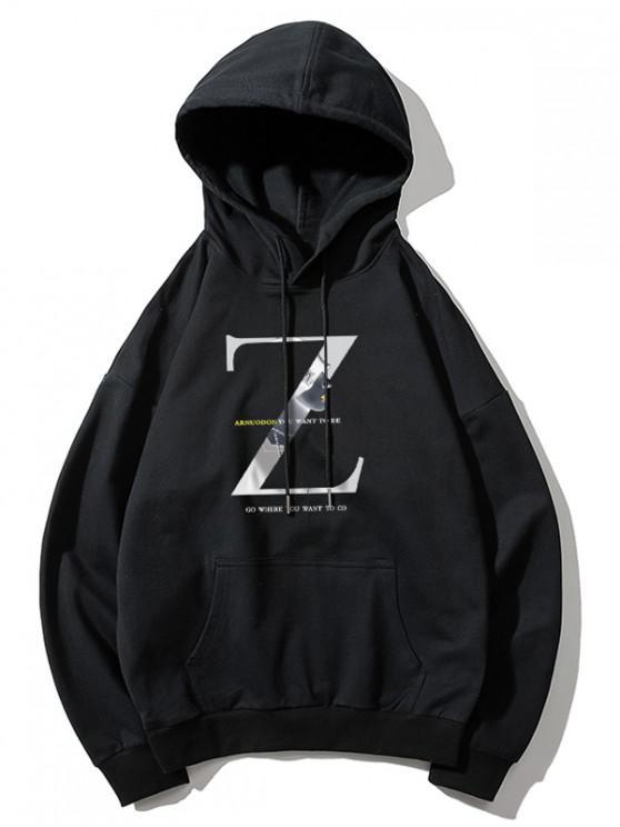 fancy Z Letter Graphic Print Drawstring Drop Shoulder Hoodie - BLACK XL