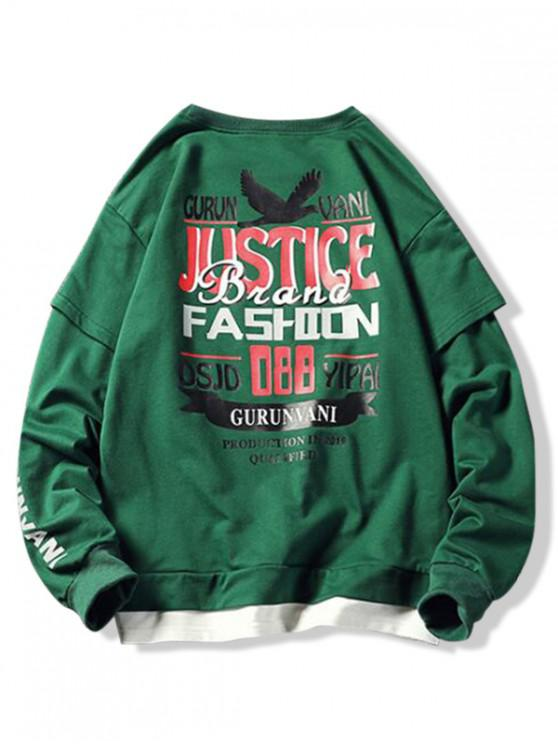 outfit Letter Animal Graphic Colorblock Faux Twinset Sweatshirt - MEDIUM FOREST GREEN S