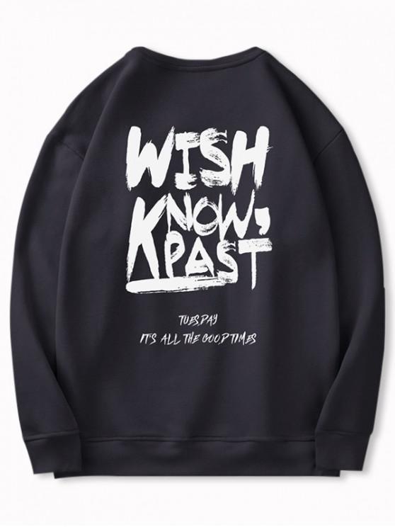 shops Letter Pattern Casual Fuzzy Sweatshirt - BLACK L