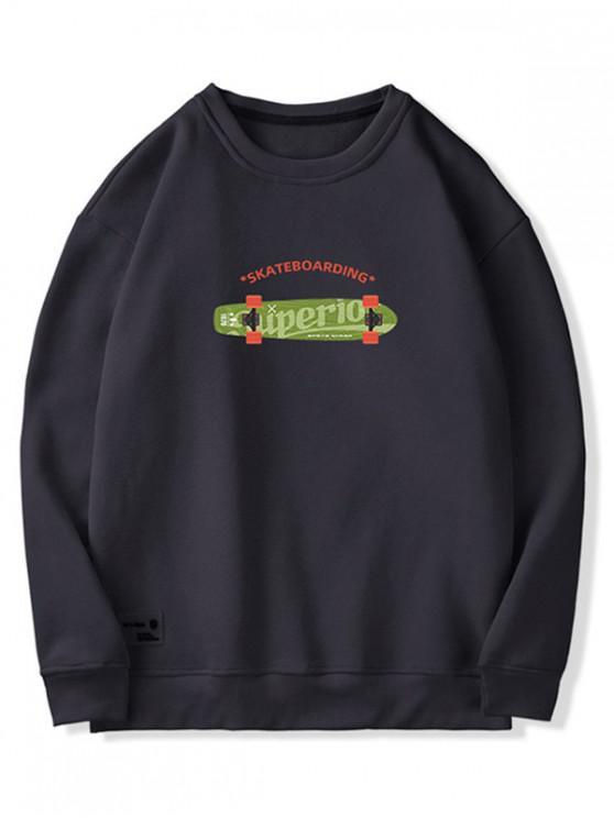fancy Graphic PrintedFuzzy Sweatshirt - BLACK M