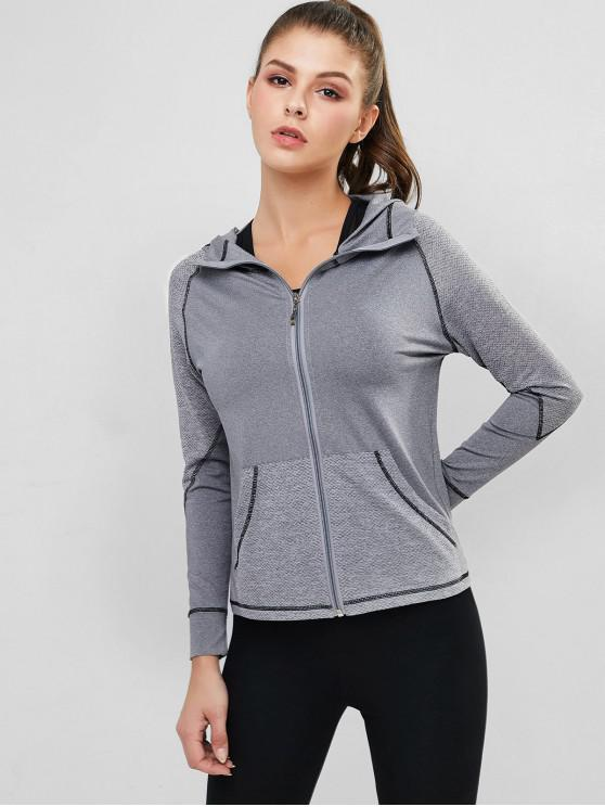 online Perforated Space Dye Topstitched Zip Gym Hoodie - LIGHT GRAY XL