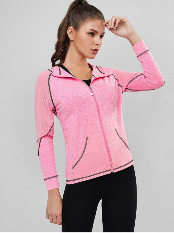 outfits Perforated Space Dye Topstitched Zip Gym Hoodie - PINK XL