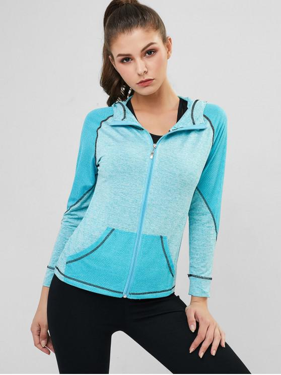 unique Perforated Space Dye Topstitched Zip Gym Hoodie - AZURE XL