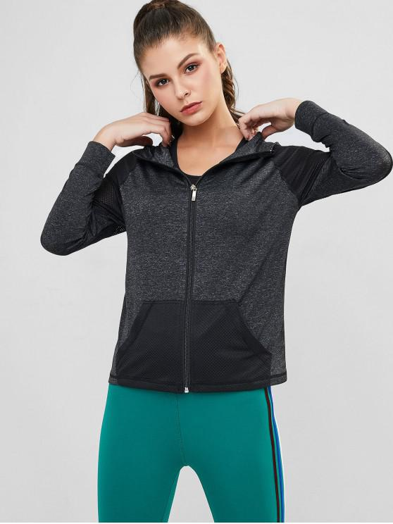 affordable Perforated Space Dye Topstitched Zip Gym Hoodie - BLACK M