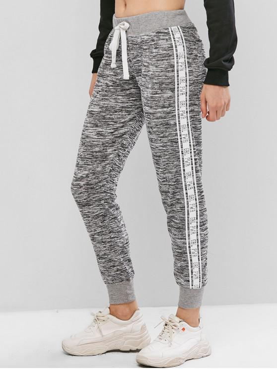 ladies Letter Graphic Heathered Jersey Jogger Pants - GRAY S