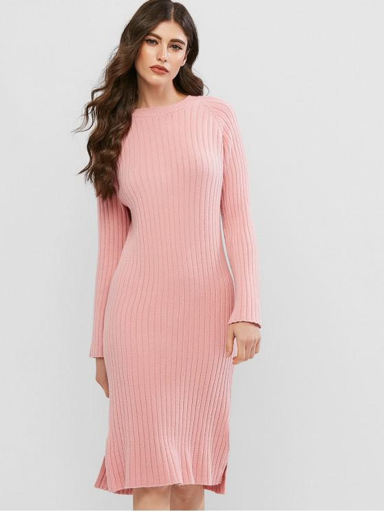 affordable Crew Neck Long Sleeve Slit Sweater Dress - PINK ONE SIZE
