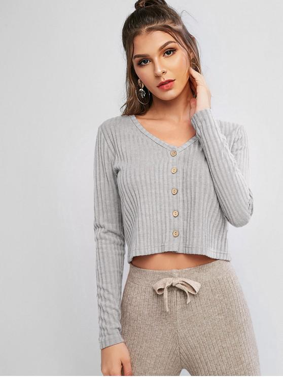 new Solid Ribbed Button Up Cardigan - GRAY CLOUD S