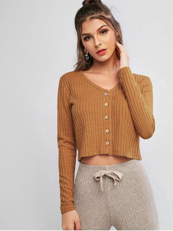chic Solid Ribbed Button Up Cardigan - WOOD XL