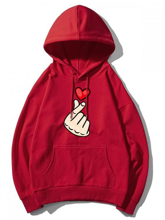 trendy Finger Heart Graphic Print Drop Shoulder Casual Hoodie - RED WINE XS