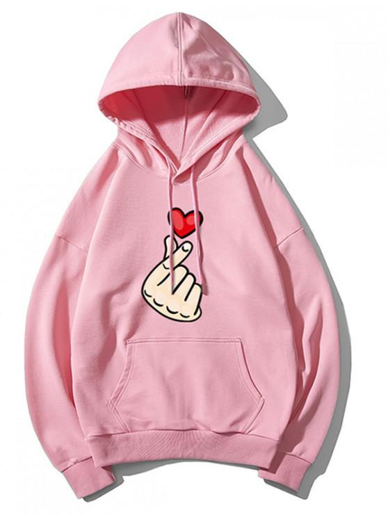 women's Finger Heart Graphic Print Drop Shoulder Casual Hoodie - PINK XL