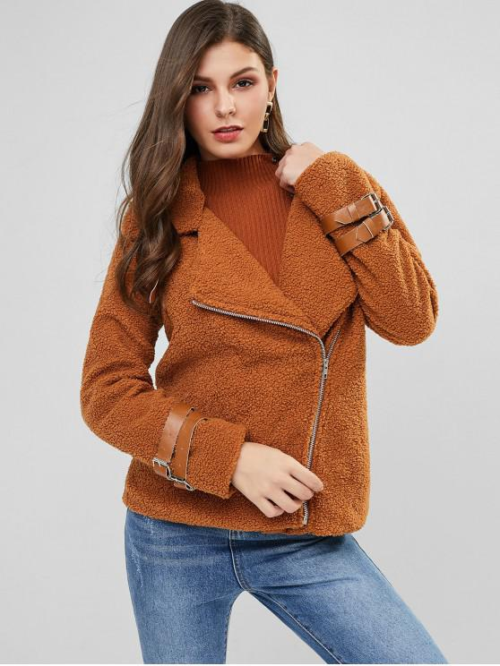 women Buckle Inclined Zipper Teddy Coat - CARAMEL S