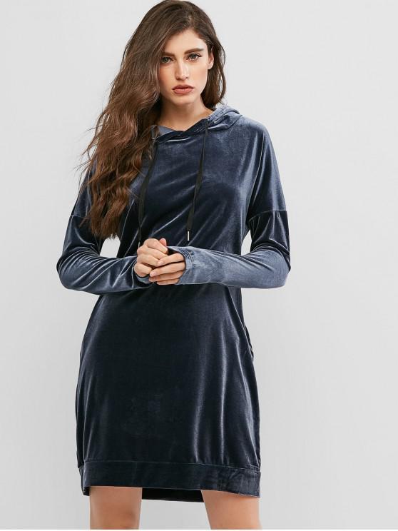 Manga larga costura bolsillos de terciopelo vestido casual - Azul Profundo M