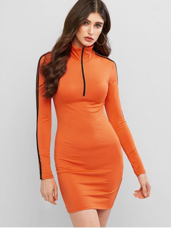 Молния впереди Полосатый принт Платье - Оранжевый M