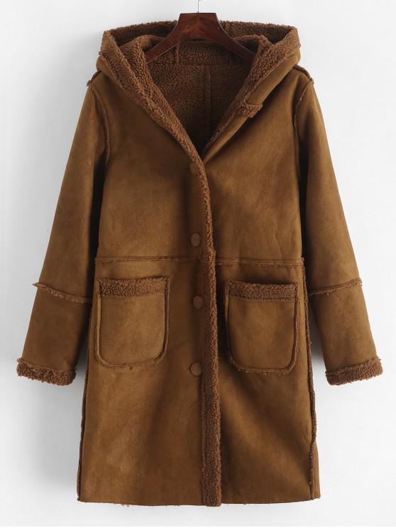Faux de piel de oveja forrado con capucha mullida larga del bolsillo Escudo - Marrón L