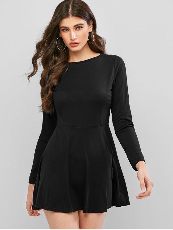 womens Basic Long Sleeve Skater Dress - BLACK M