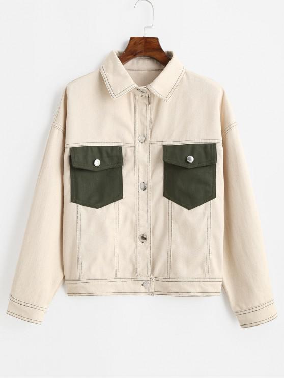 Botón encima de la aleta del contraste bolsillos de la camisa de la chaqueta - Beige M
