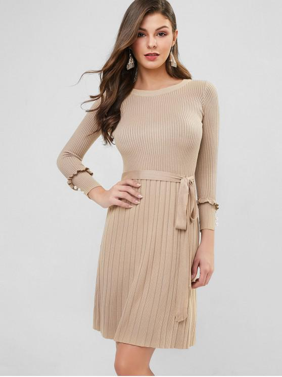 sale Ribbed Ruffle Faux Pearl Embellished Belted Dress - LIGHT KHAKI ONE SIZE