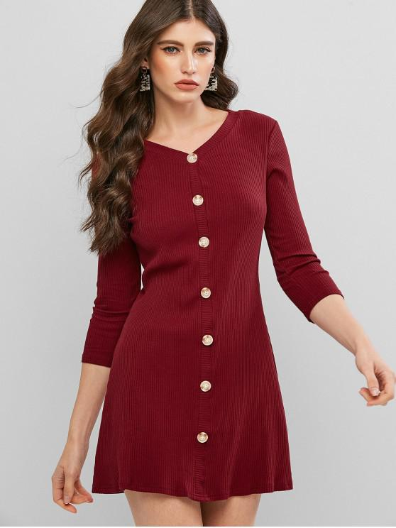 unique Ribbed Mock Button Knit Dress - FIREBRICK M