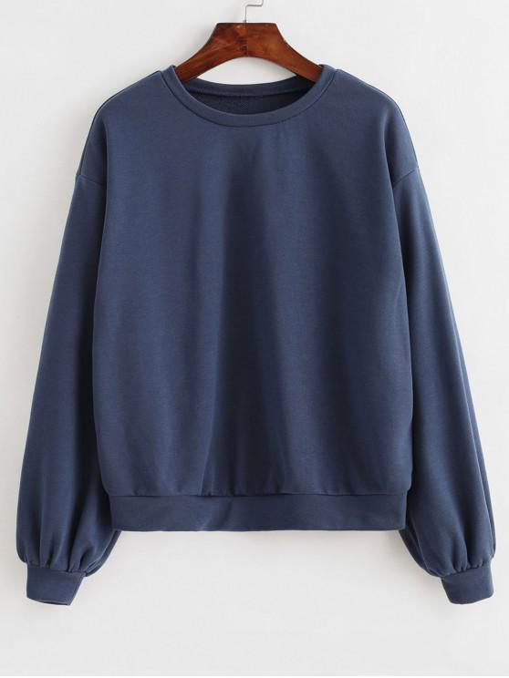 chic ZAFUL Basic French Terry Sweatshirt - SLATE BLUE M