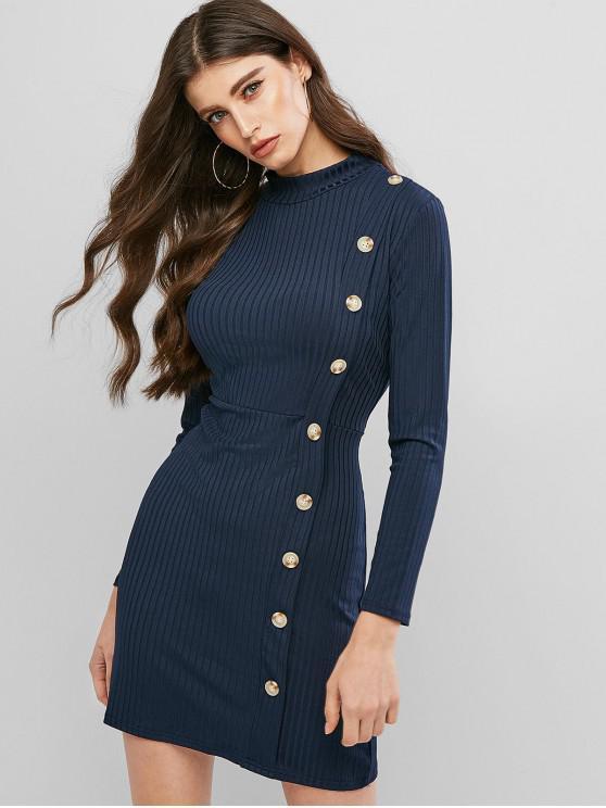 Botón de cuello alto vestido de punto acanalado Mock - Azul de Medianoche XL