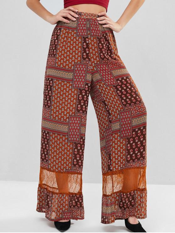 Panel con volantes de Bohemia dobladillo del cordón pantalones Palazzo - Marrón XS