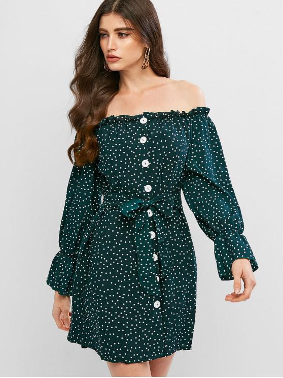 trendy Polka Dot Tie Off The Shoulder Dress - DARK FOREST GREEN L